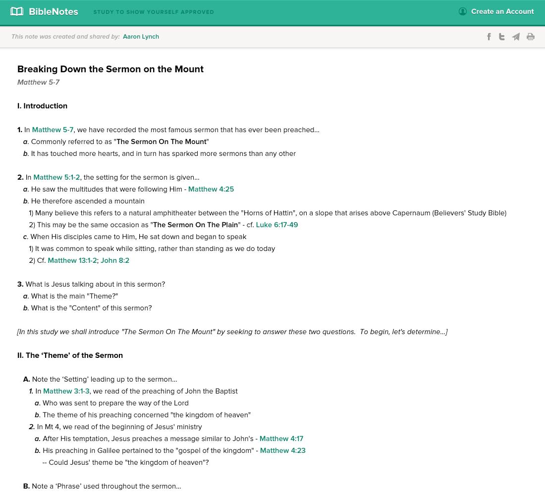 BibleNotes — Web App, Share Note Screen