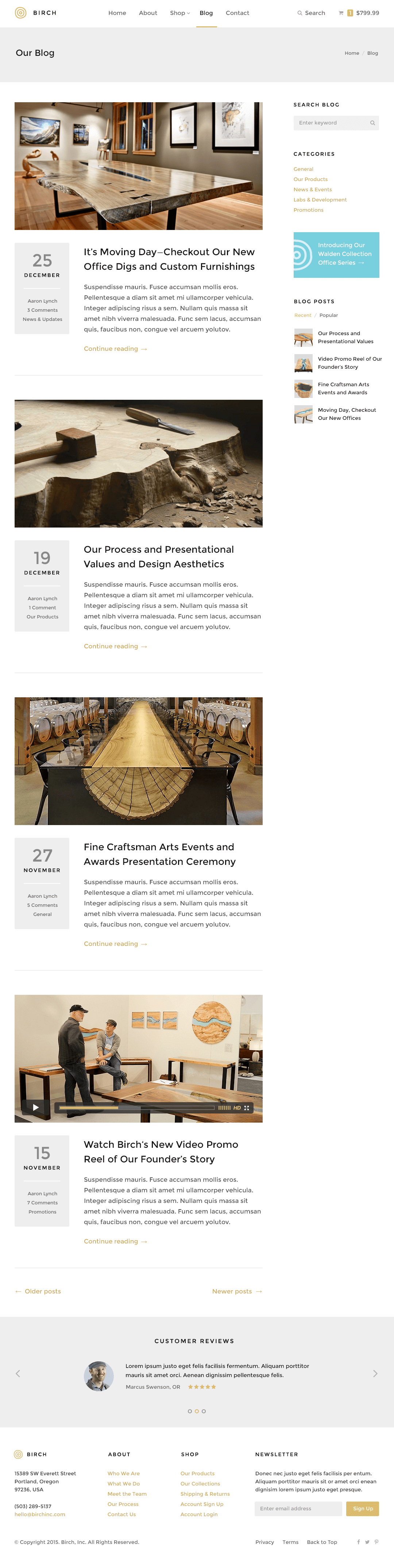 Birch WordPress Theme — Blog