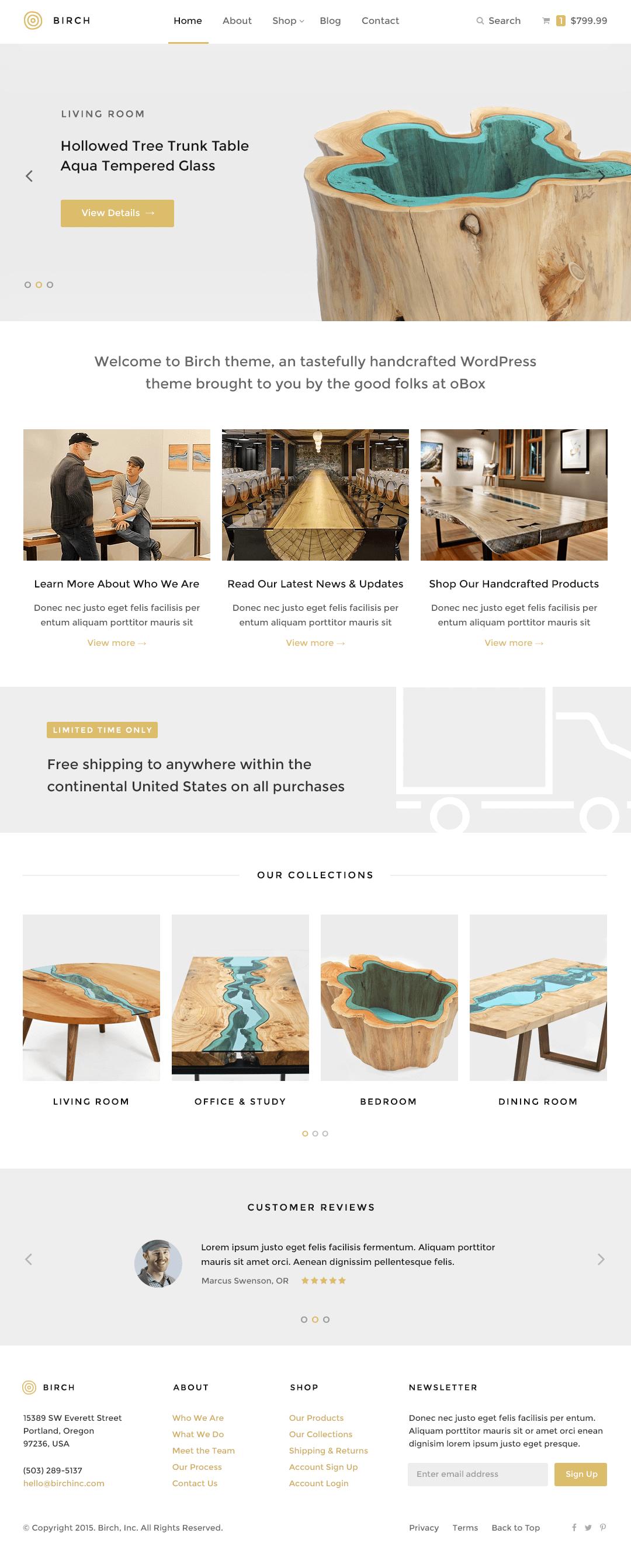 Birch WordPress Theme — Homepage (Alternative)
