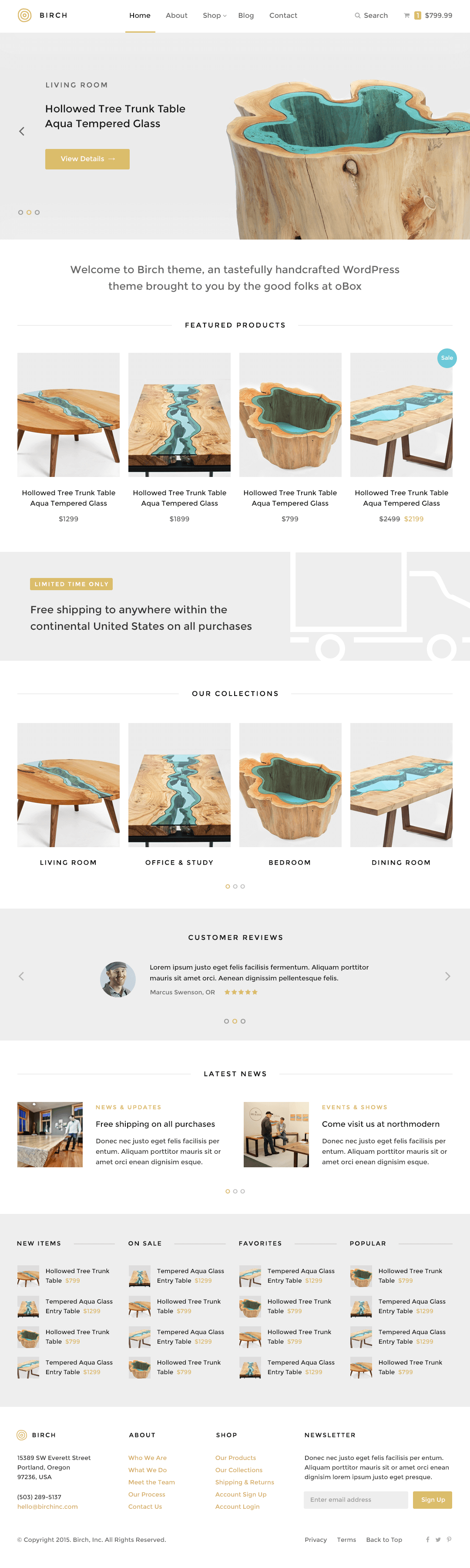 Birch WordPress Theme — Homepage