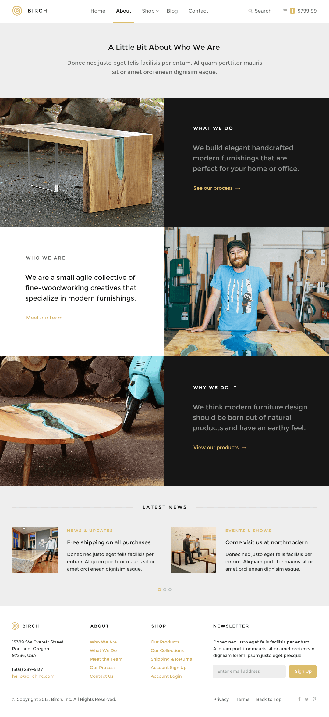Birch WordPress Theme — Page