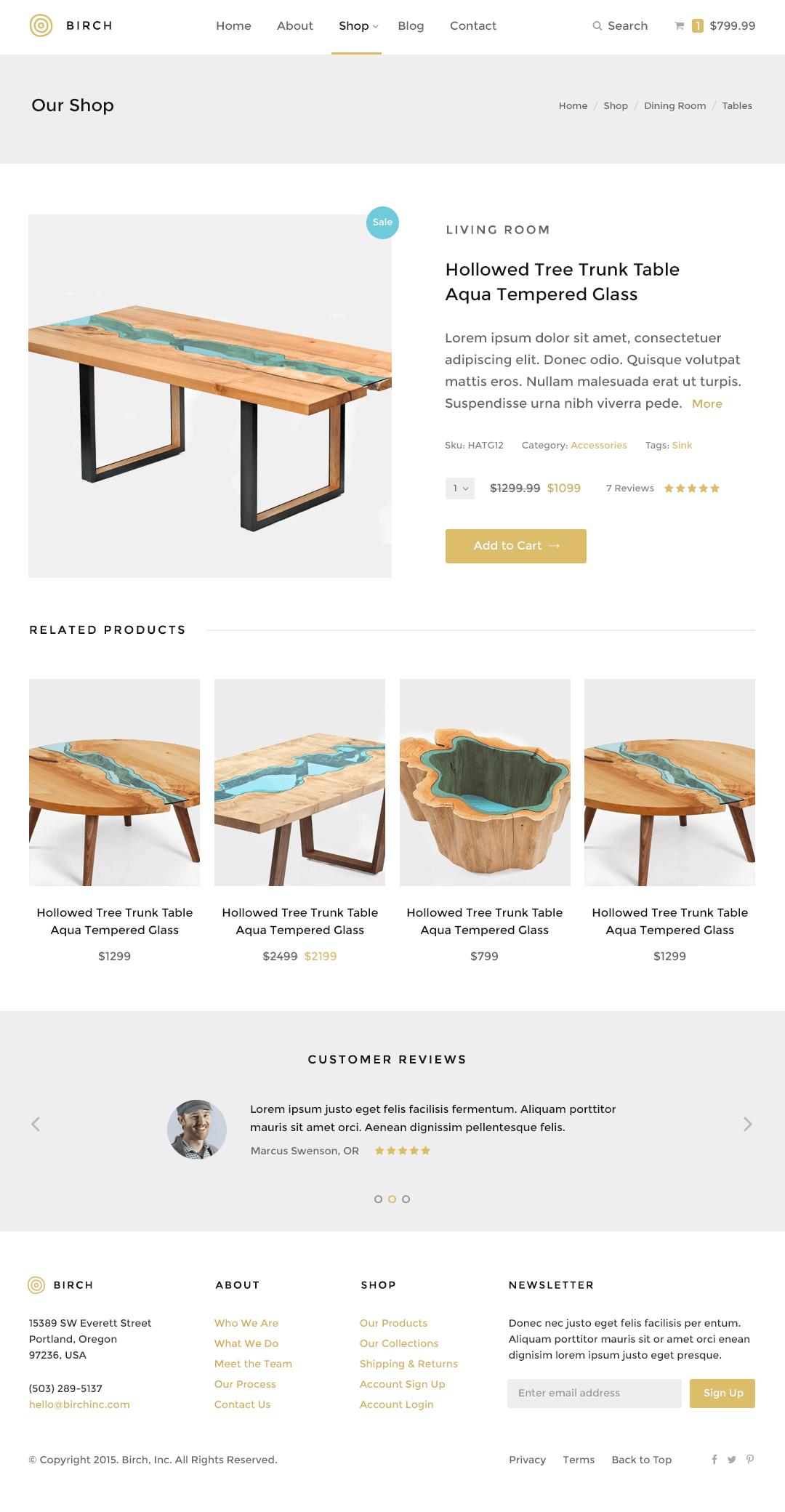 Birch WordPress Theme — Product