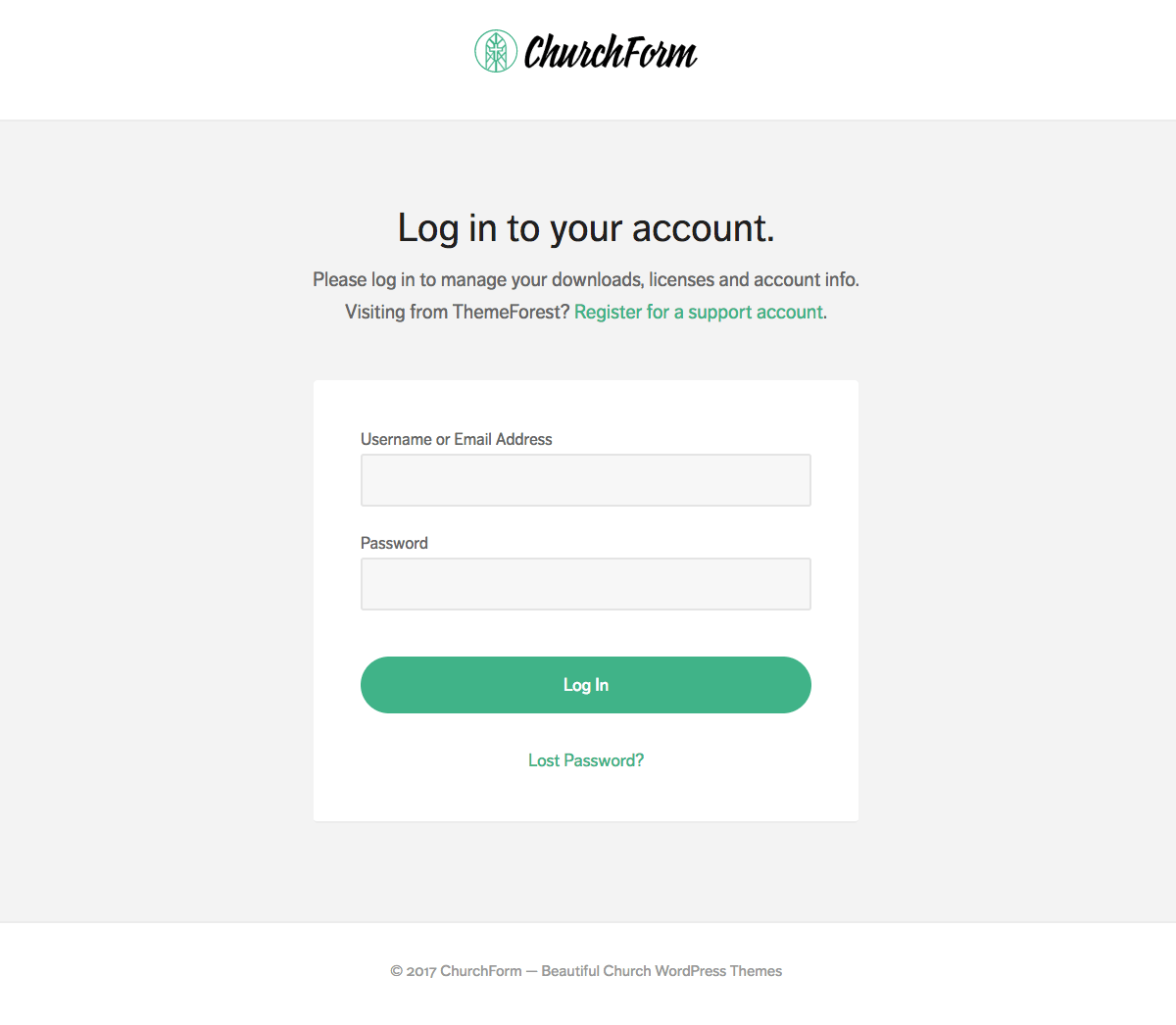 ChurchForm — Login